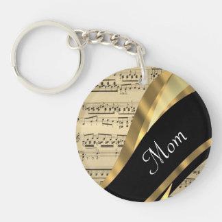 Elegant music sheet mothers day keychain