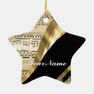 Elegant music sheet Double-Sided star ceramic christmas ornament