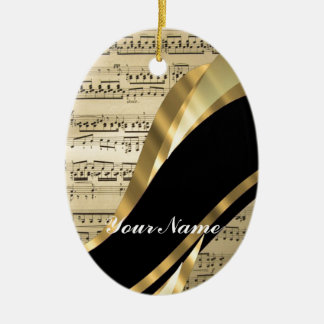Elegant music sheet Double-Sided oval ceramic christmas ornament