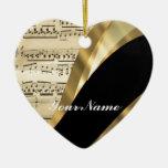 Elegant music sheet Double-Sided heart ceramic christmas ornament