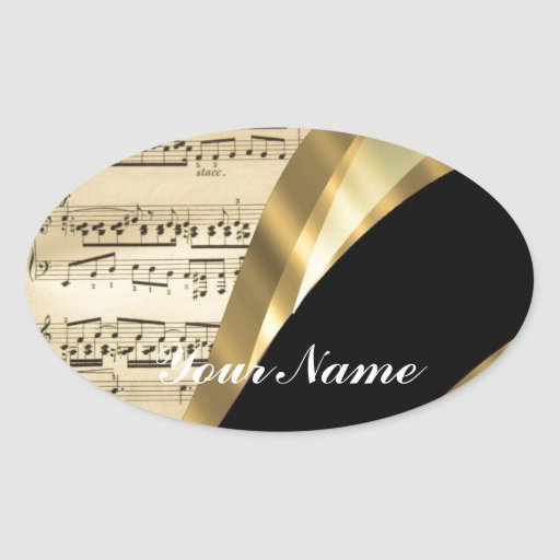 Elegant music sheet oval sticker