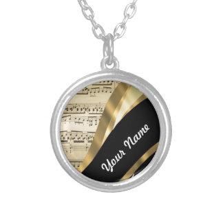 Elegant music sheet round pendant necklace