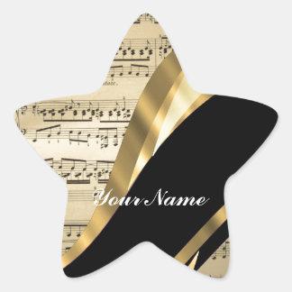 Elegant music sheet star sticker