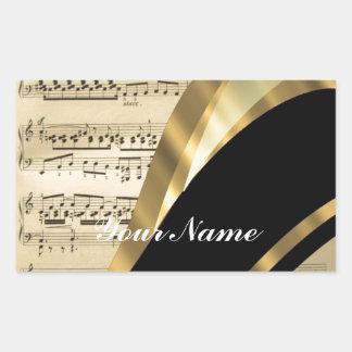Elegant music sheet rectangular sticker