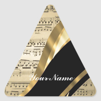Elegant music sheet triangle sticker