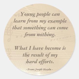 Elegant Music Teacher Haydn Quote Round Sticker