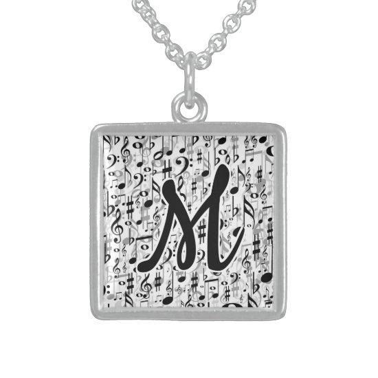Elegant Musical Notes Pattern Monogrammed Sterling Silver Necklace