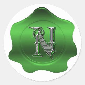 Elegant N Monogram Green Wax Seal Look Sticker