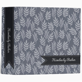 Elegant Name Modern Slate Gray Leaves Pattern Binder