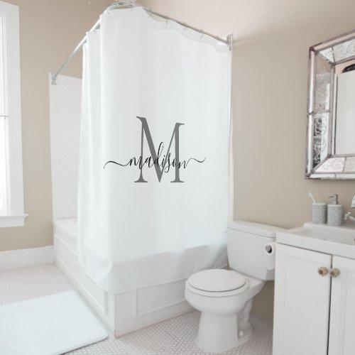 Elegant Name Monogram Chic Script Black White Gray Shower Curtain