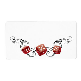 Elegant Name Tag With Dice Shipping Label