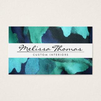 ELEGANT NAME with BLUE FLORAL FABRIC Business Card