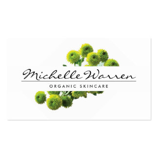ELEGANT NAME with GREEN MUMS FLOWERS Business Card Template
