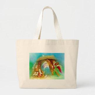 Elegant Nativity scene, Mary Jesus Joseph Tote Bags