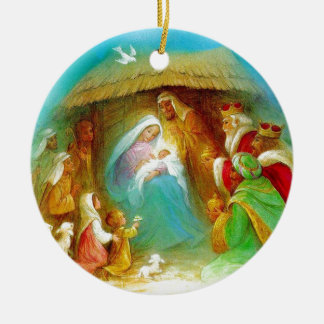 Elegant Nativity scene, Mary Jesus Joseph Double-Sided Ceramic Round Christmas Ornament