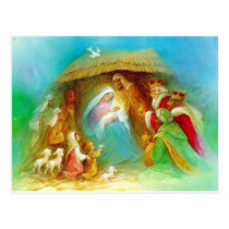 Elegant Nativity scene, Mary Jesus Joseph Postcard