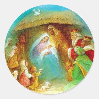 Elegant Nativity scene, Mary Jesus Joseph Round Stickers