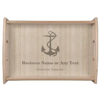 Elegant Nautical Anchor on Wood with Custom Text Food Trays