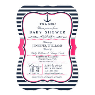 Elegant Nautical Baby Shower Invite; Navy and Pink Card