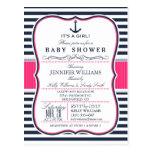 Elegant Nautical Baby Shower Invite; Navy and Pink Postcard