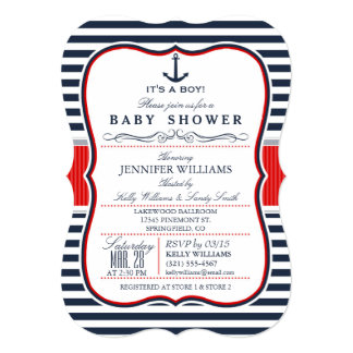 Elegant Nautical Baby Shower Invite; Navy and Red Card