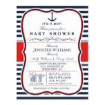 Elegant Nautical Baby Shower Invite; Navy and Red Postcard