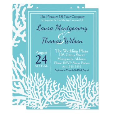 Beach Themed Elegant Nautical Beach White Sea Coral Wedding Card