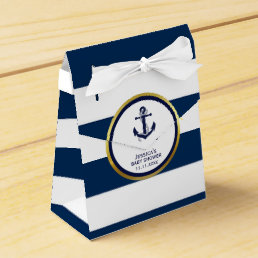 Elegant Nautical Navy Blue White Baby Shower Gift Favor Box
