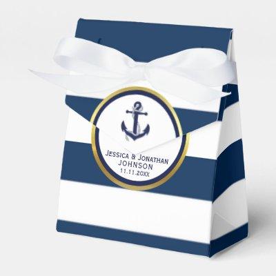 Elegant Nautical Navy Blue White Wedding Gift Favor Box