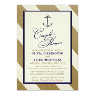 Elegant Nautical Navy & Gold Couple's Shower 5x7 Paper Invitation Card