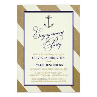 Elegant Nautical Navy & Gold Engagement Party 5x7 Paper Invitation Card