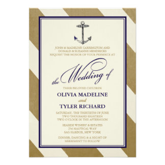 Elegant Nautical Navy Gold Wedding Invitations