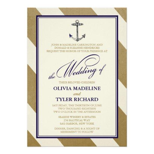 Elegant Nautical Navy & Gold Wedding Invitations