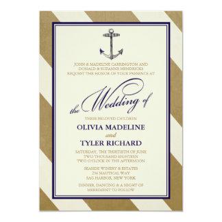 "Elegant Nautical Navy & Gold Wedding Invitations 5"" X 7"" Invitation Card"