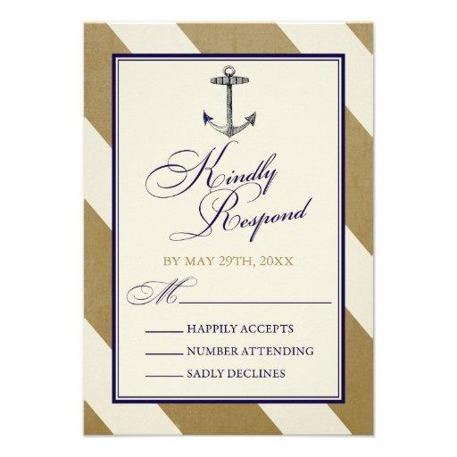 Elegant Nautical Navy & Gold Wedding RSVP Cards
