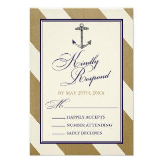 Elegant Nautical Navy Gold Wedding RSVP Cards