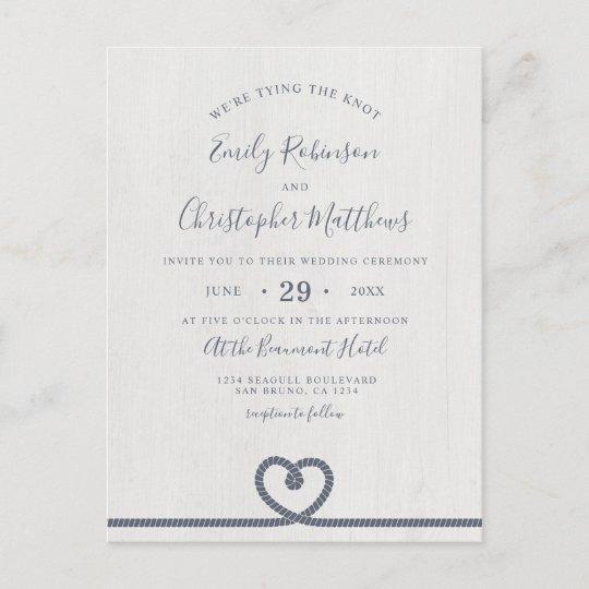Elegant Nautical Tying The Knot Wedding Invitation Zazzle Com