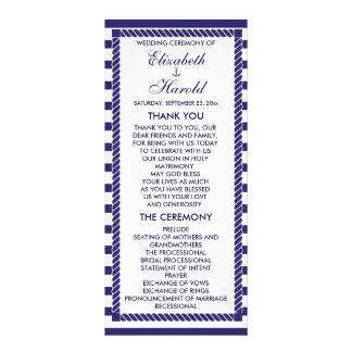 Elegant Nautical Wedding Navy Stripes Program Card