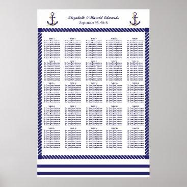 Beach Themed Elegant Nautical Wedding Navy Stripes Seat Chart Poster