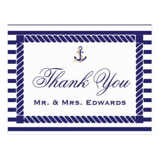 Elegant Nautical Wedding Thank You Postcard