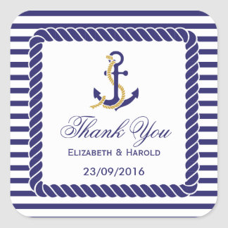 Elegant Nautical Wedding Thank You Square Sticker