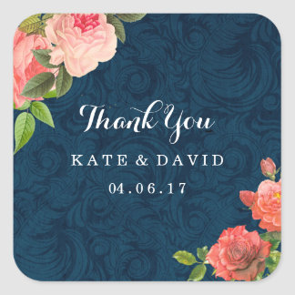 Elegant Navy and Coral Thank You Stickers