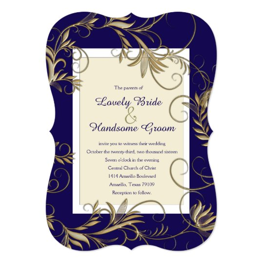Navy Blue And Gold Wedding Invitations: Elegant Navy And Gold Wedding Invitations