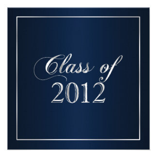Elegant Navy and Silver Class of 2012 Invitation