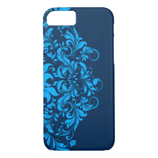 Elegant Navy And Sky Blue Floral Lace iPhone 7 Case