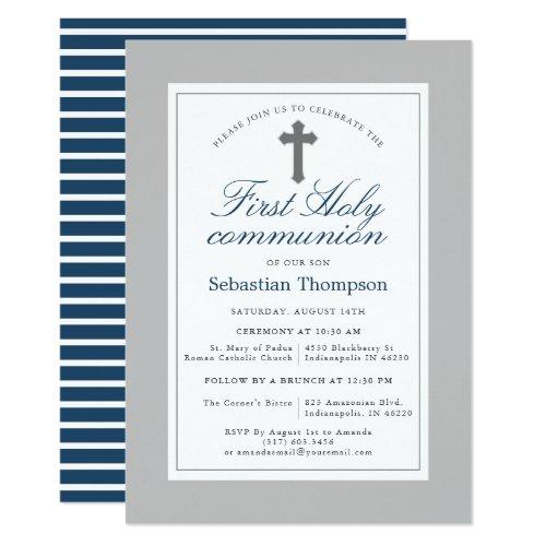 Elegant Navy and White Stripes First Communion Invitation