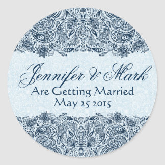 Elegant Navy & Baby Blue Floral Paisley Lace Classic Round Sticker