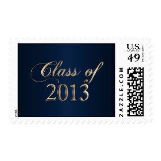 Elegant Navy Blue and Gold Class of 2013 Stamp