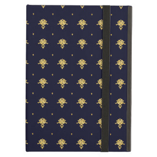 Elegant Navy Blue and Gold Damask iPad Air Case