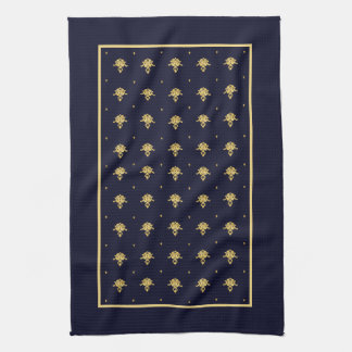 Elegant Navy Blue and Gold Damask Kitchen Towel